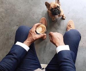 dog, coffee, and man image