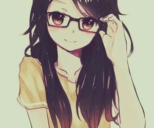 anime, glasses, and anime girl image