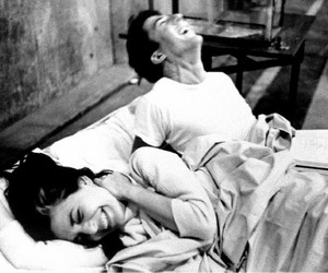 bed, couple, and laugh image