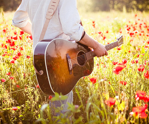 guitar, flowers, and boy image