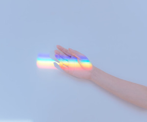 rainbow, aesthetic, and hand image