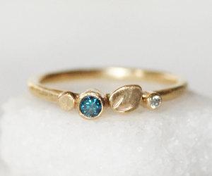 botanical, etsy, and blue diamond ring image