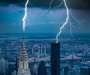 city, lightning, and storm image