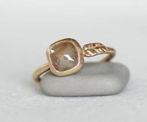 diamond ring, wedding ring, and gold leaf ring image