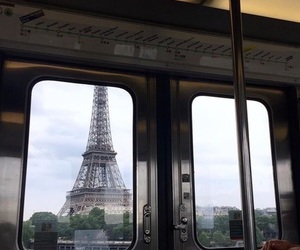 eiffel tower, train, and france image