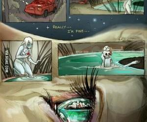 sad, eye, and art image