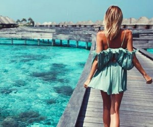 blue, girl, and water image