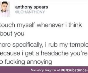 headache, temples, and funny tumblr post image