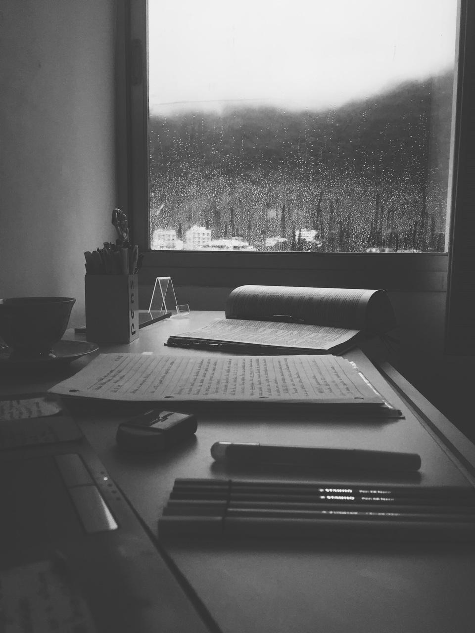 books, rain, and school image