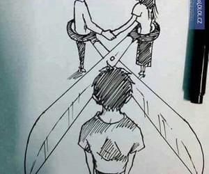 love, sad, and drawing image