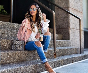 blouse, heels, and jeans image