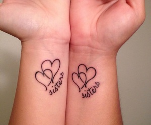 sisters, tattoo, and heart image