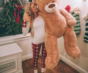 girl, bear, and christmas image
