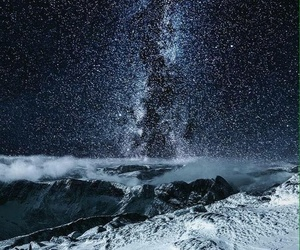 clouds, stars, and mountains image