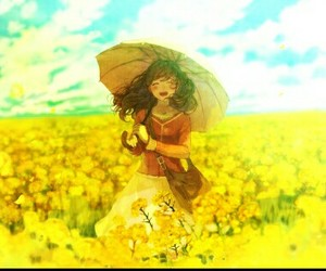 anime, yellow, and flower image