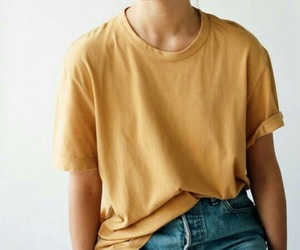 jeans, shirt, and yellow image