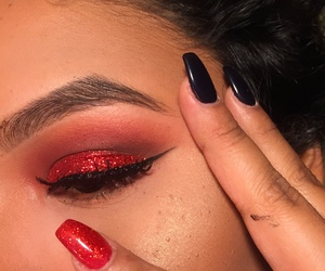 nails, makeup, and red image