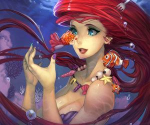 ariel, disney, and Ponyo image