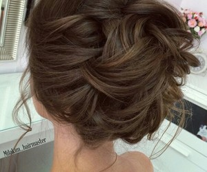 brunette, hair style, and Prom image