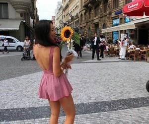 girl, sunflower, and dress image