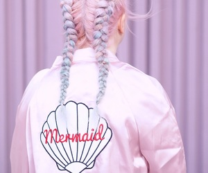 pink, hair, and mermaid image