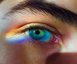 rainbow, eyes, and boy image