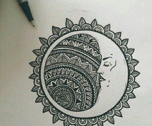 moon, drawing, and mandala image