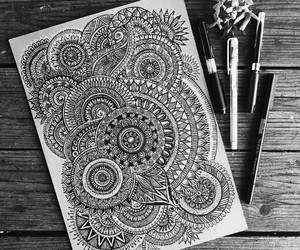 black and white, mandala, and arte image