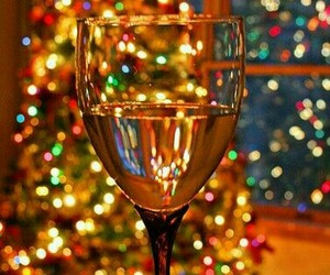light, christmas, and champagne image
