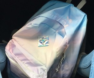 backpack, blue, and holographic image
