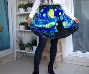 skirt, art, and starry night image