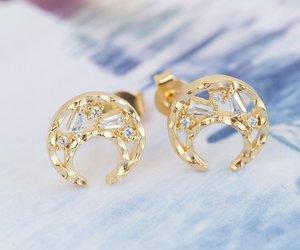 moon earrings, earcuff, and gold earring image