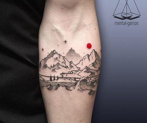 mountains, tattoo, and art image