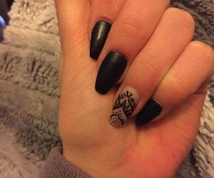 black, black nails, and henna image