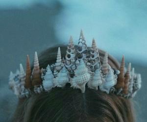 mermaid, crown, and beach image