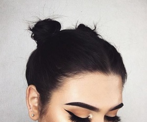 eyeliner, girl, and space buns image