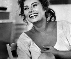 sophia loren, smile, and black and white image