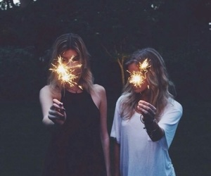best friends, girls, and lights image