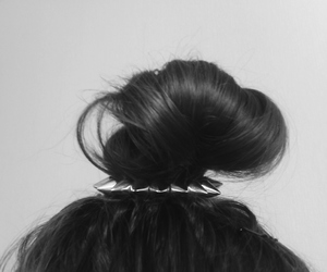bun, hairstyle, and brads image