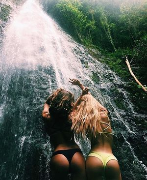 butt, forest, and waterfall image