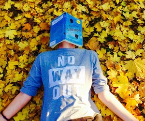 autumn, blue, and boy image