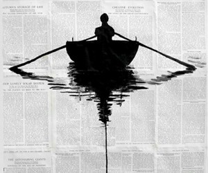 art, boat, and black image