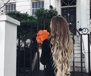 hair, flowers, and blonde image