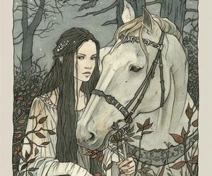 horse, art, and elf image