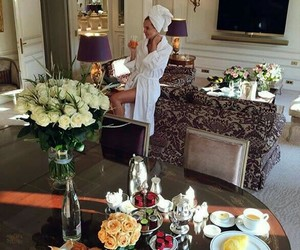 breakfast, travel, and flowers image