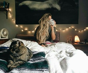 girl, cat, and blonde image