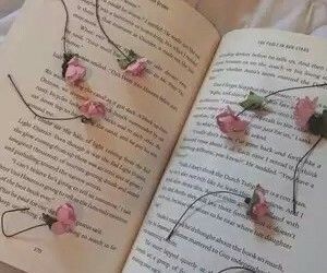book, flowers, and aesthetic image