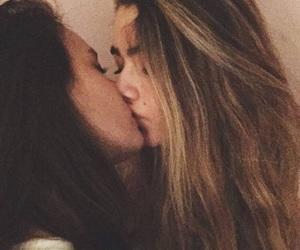blonde, brunette, and kissing image