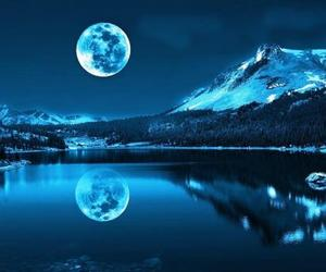 moon, lake, and mountains image
