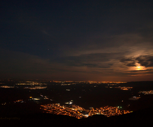 city, lights, and moon image
